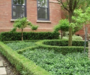 Formal Garden with hedges and no grass in front yard