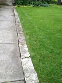 walkway with natural stone edging