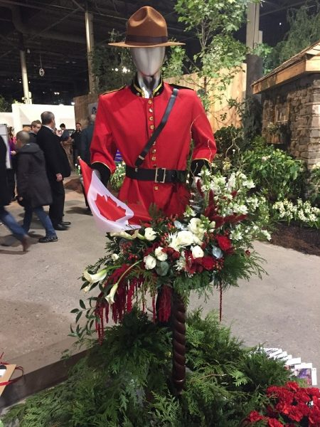 Floral Display with Canadian Mountie