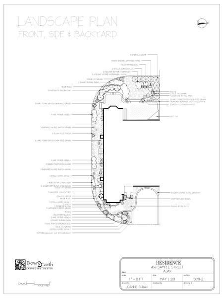 Front, Side, Backyard Landscape Plan