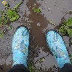 rubber boots and mud