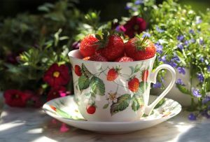 strawberries teacup
